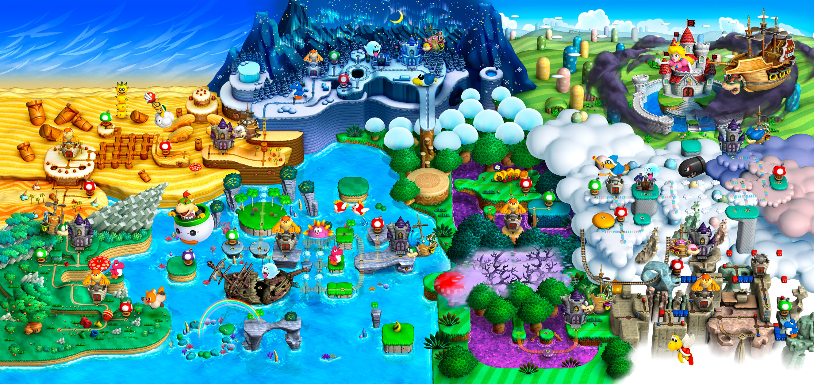 The Entire World Map of New Super Mario Bros. U